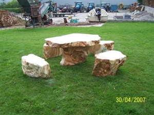 stone table on lawn