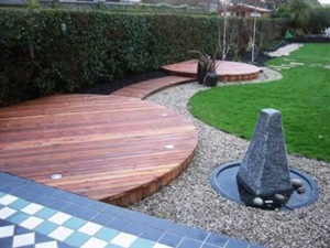 Cedar wood decking with lighting