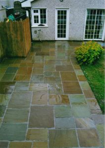 Indian sandstone driveway.